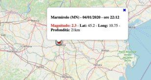 Terremoto in Lombardia oggi, lunedì 4 gennaio 2021: scossa M 2.3 in provincia di Mantova