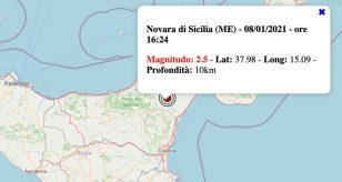Terremoto in Sicilia oggi, venerdì 8 gennaio 2021: scossa M 2.5 in provincia di Messina