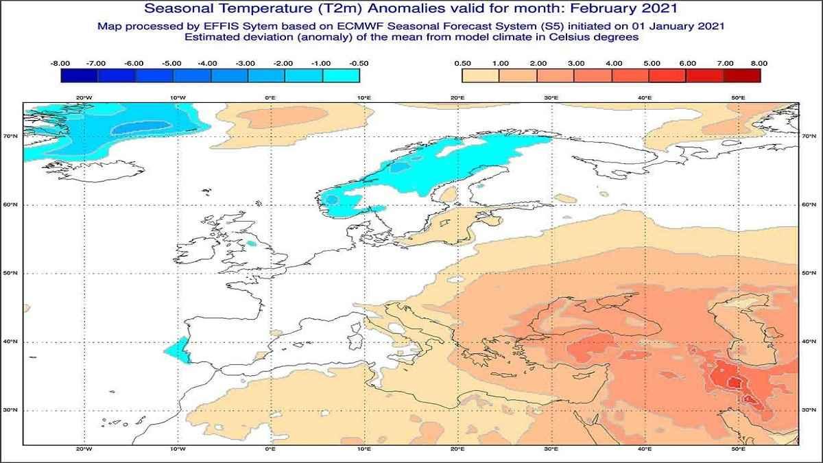 Anomalie di temperature previste dal modello ECMWF per febbraio 2021 - effis.jrc.ec.europa.eu