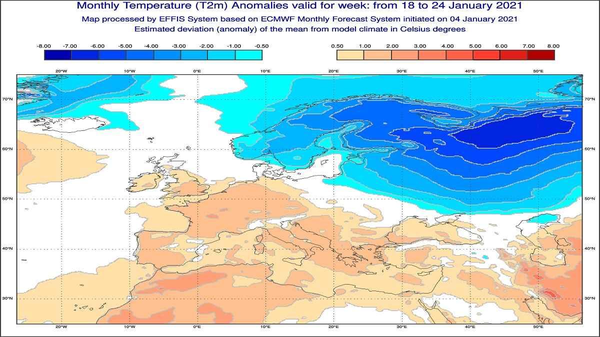 Anomalie di temperatura previste tra il 18 e il 24 gennaio - effis.jrc.ec.europa.eu
