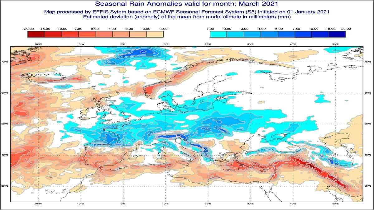 Anomalie di precipitazione per Marzo 2021 secondo il modello ECMWF - effis.jrc.ec.europa.eu