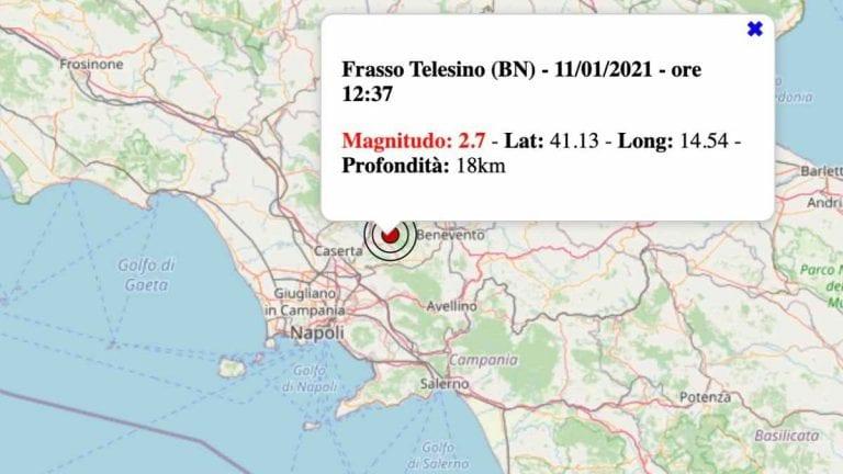Terremoto in Campania oggi, lunedì 11 gennaio 2021: scossa M 2.7 in provincia di Benevento | Dati INGV