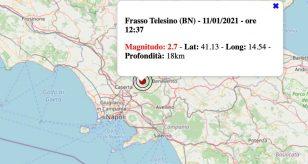 Terremoto in Campania oggi, lunedì 11 gennaio 2021: scossa M 2.7 in provincia di Benevento