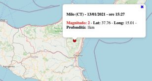Terremoto in Sicilia oggi, mercoledì 13 gennaio 2021: scossa M 2.0 in provincia di Catania