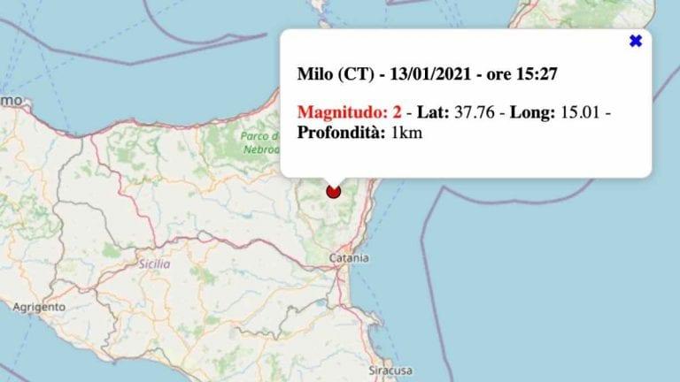 Terremoto in Sicilia oggi, mercoledì 13 gennaio 2021: scossa M 2.0 in provincia di Catania | Dati INGV