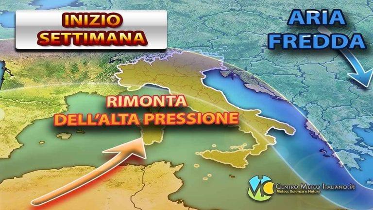 METEO – Torna l'ALTA PRESSIONE sull'ITALIA, ma sarà piuttosto passeggera. Ecco le PREVISIONI