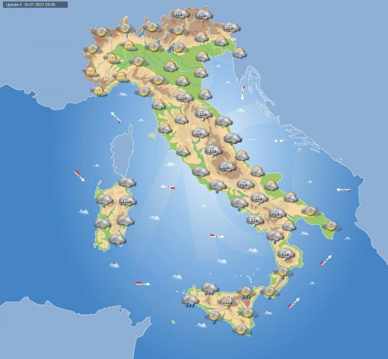 PREVISIONI METEO domani 17 Gennaio 2021: Giornata invernale al centro-sud Italia con neve a quote molto basse