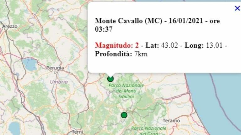 Terremoto nelle Marche oggi, 16 gennaio 2021: scossa M 2.0 in provincia di Macerata – Dati INGV
