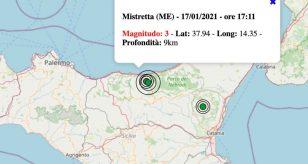 Terremoto in Sicilia oggi, domenica 17 gennaio 2021: scossa M 3.0 in provincia di Messina | Dati INGV