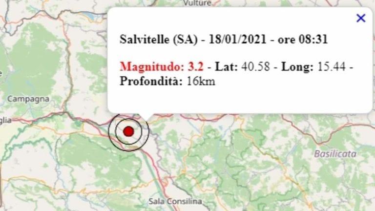 Terremoto in Campania oggi, lunedì 18 gennaio 2021: scossa M 3.2 in provincia di Salerno   Dati INGV