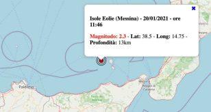 Terremoto in Sicilia oggi, mercoledì 20 gennaio 2021: scossa M 2.3 Isole Eolie