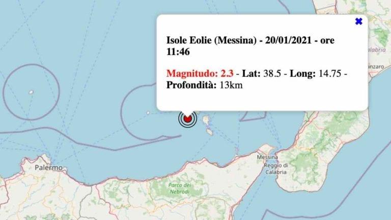 Terremoto in Sicilia oggi, mercoledì 20 gennaio 2021: scossa M 2.3 Isole Eolie | Dati INGV