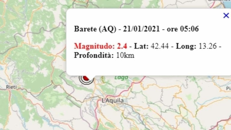 Terremoto in Abruzzo oggi, giovedì 21 gennaio 2021, scossa di M 2.4 provincia di L'Aquila | Dati Ingv