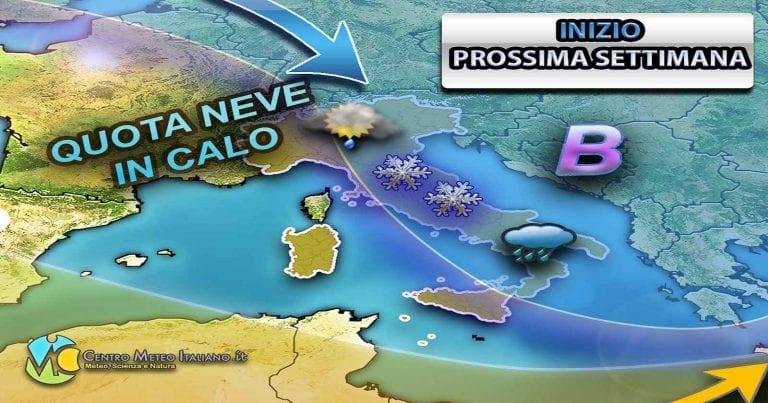 METEO ITALIA – MALTEMPO con rischio NUBIFRAGI  e venti fino a 100 km/h, poi brusco calo delle temperature