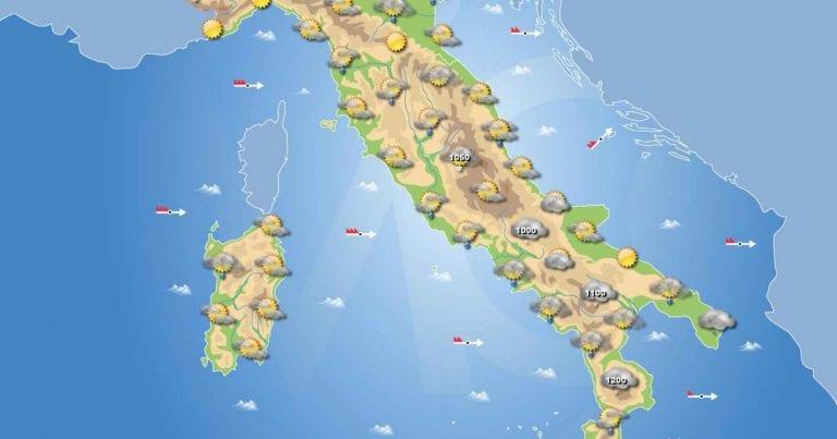 PREVISIONI METEO domani 23 Gennaio 2021: Tempo instabile in Italia con precipitazioni sparse, temperature in calo