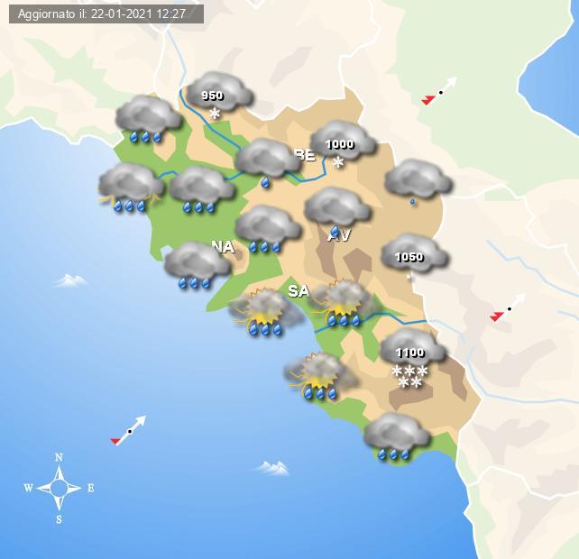 Le piogge previste per la mattina di Domenica 24 Gennaio 2021 - grafica del Centro meteo Italiano