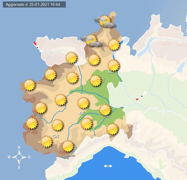 Le previsioni grafiche per Torino per la giornata di domani 26 gennaio 2021