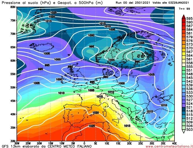 Cartina a 500 hectoPascal che mostra la rimonta anticiclonica sull'Italia