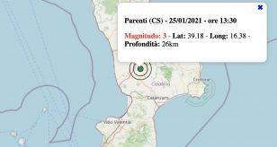 Le scosse di terremoto in Italia di lunedì 25 gennaio 2021
