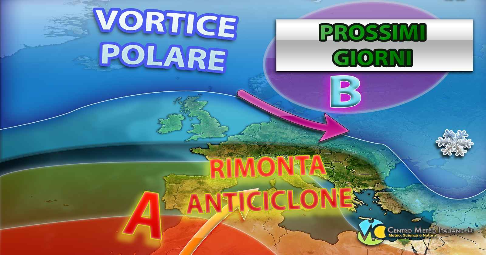 Grafica che mostra la rimonta anticiclonica dei prossimi 2-3 giorni - a cura del Centro Meteo Italiano