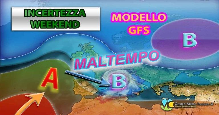 METEO WEEKEND: ancora MALTEMPO in vista in ITALIA con piogge e neve