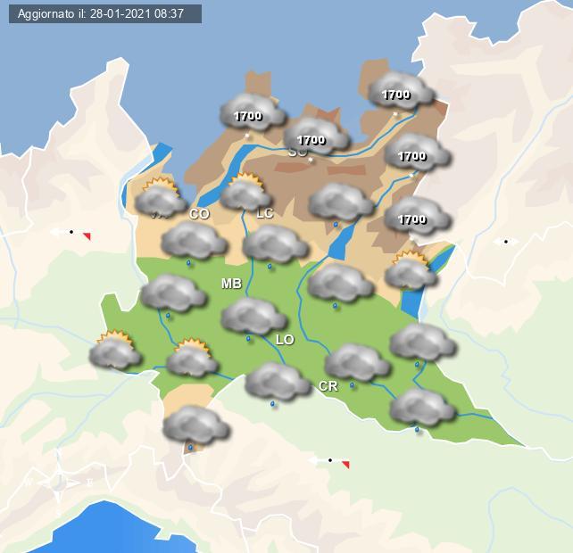 Previsioni grafiche per la Lombardia per la giornata di Venerdì 29 Gennaio 2021 - Centro Meteo Italiano