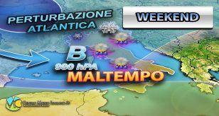 La grafica mostra l'ondata di maltempo prevista per il weekend in seguito alla perturbazione atlantica - Centro Meteo Italiano
