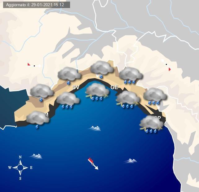 Le piogge previste nella notte tra Sabato e Domenica sulla Liguria - grafica a cura del Centro Meteo Italiano