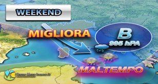 Peggioramento meteo nel weekend con piogge e temporali su tutta la Penisola