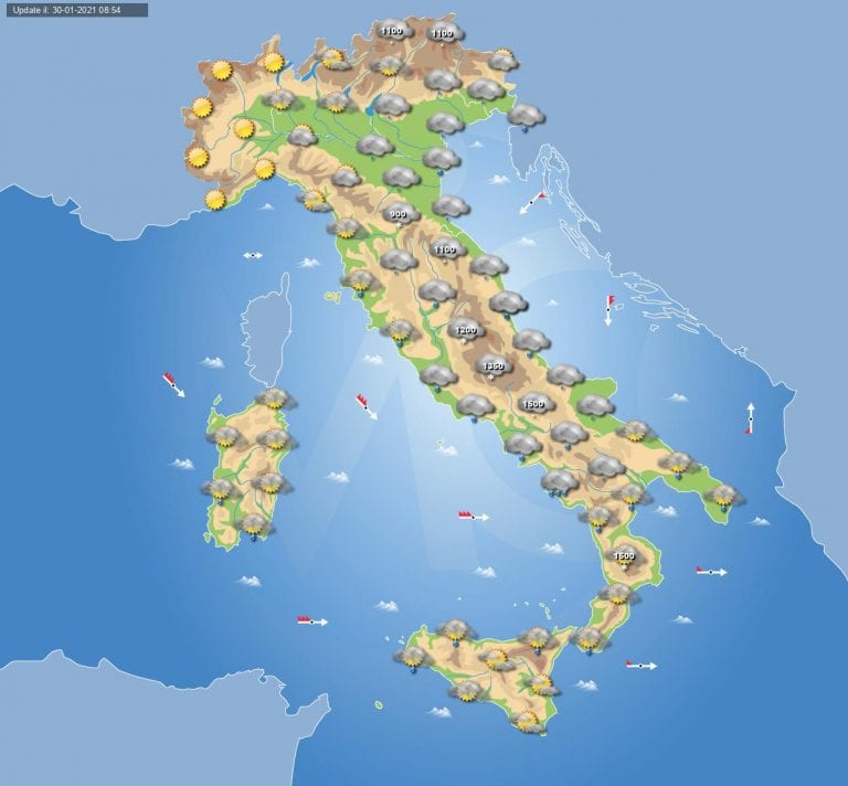 PREVISIONI METEO domani 31 Gennaio 2021: maltempo in ITALIA con piogge e NEVE
