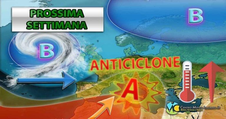 METEO ITALIA – MALTEMPO con PIOGGE e TEMPORALI sparsi, ma è in arrivo l'ANTICICLONE con temperature più miti