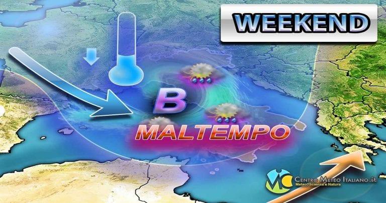 METEO – AFFONDO PERTURBATO in arrivo nel WEEKEND, torna il MALTEMPO sull'ITALIA con CALO TERMICO, ecco i dettagli