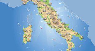 Tempo previsto in Italia per la giornata di domani.