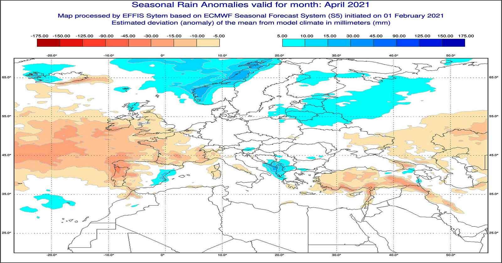 Anomalie di precipitazione per Aprile 2021 secondo il modello ECMWF - effis.jrc.ec.europa.eu