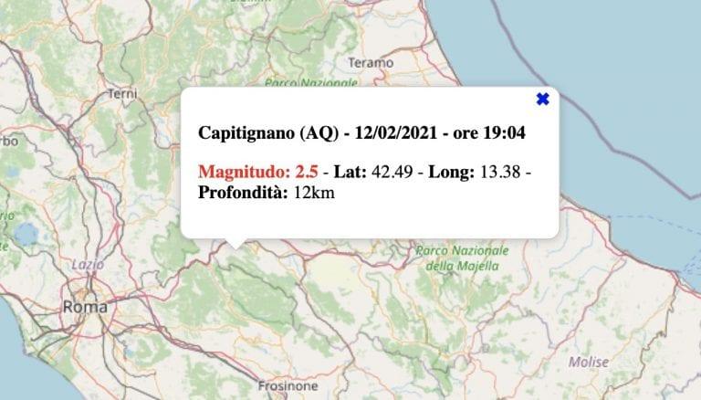 Terremoto in Abruzzo oggi, venerdì 12 febbraio 2021: scossa M 2.5 in provincia de L'Aquila   Dati INGV