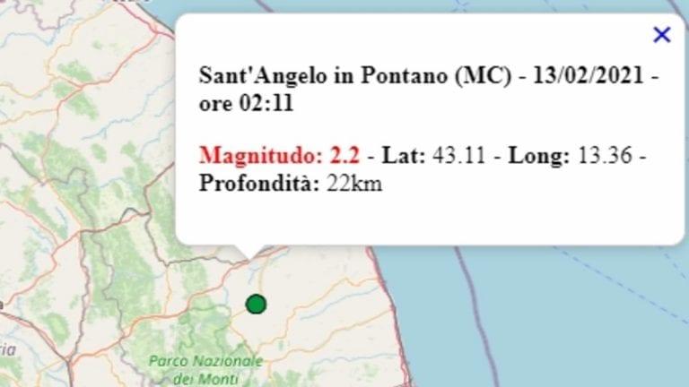 Terremoto nelle Marche oggi, sabato 13 febbraio 2021: scossa M 2.2 in provincia di Macerata   Dati INGV