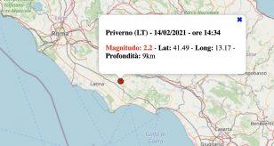 Terremoto Lazio 14 febbraio 2021