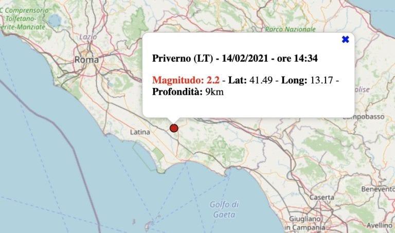 Terremoto nel Lazio oggi, domenica 14 febbraio 2021: scossa M 2.2 provincia Latina   Dati ufficiali INGV