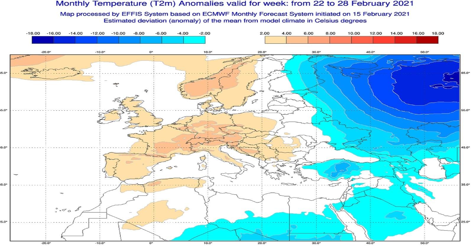 Anomalie di temperatura previste tra il 22 e il 28 febbraio - effis.jrc.ec.europa.eu