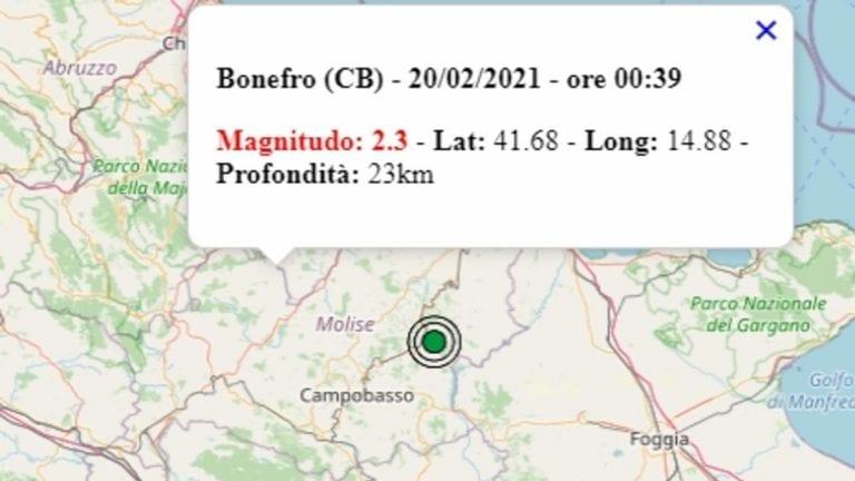 Terremoto in Molise oggi, sabato 20 febbraio 2021, scossa M 2.3 in provincia di Campobasso – Dati Ingv