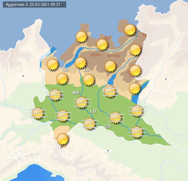 Previsioni grafiche per Milano e la Lombardia per domani 23 febbraio a cura del Centro Meteo Italiano