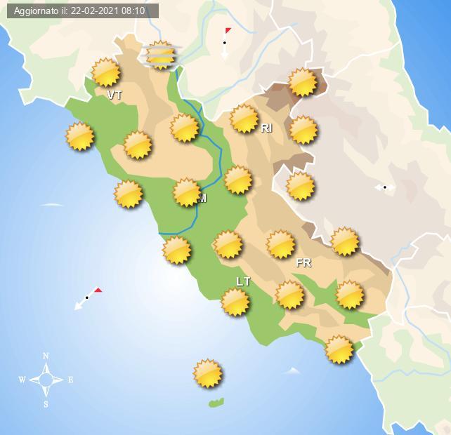 Previsioni grafiche per Roma e per il Lazio di domani 23 Febbraio 2021, a cura del Centro Meteo Italiano