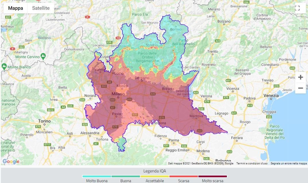 Indice di qualità dell'aria in picchiata per Mercoledì 24 Febbraio sulla Lombardia - credits www.arpalombardia.it