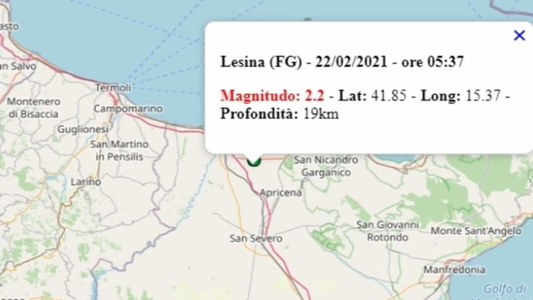 Terremoto in Puglia oggi, lunedì 22 febbraio 2021, scossa M 2.2 provincia di Foggia – Dati Ingv