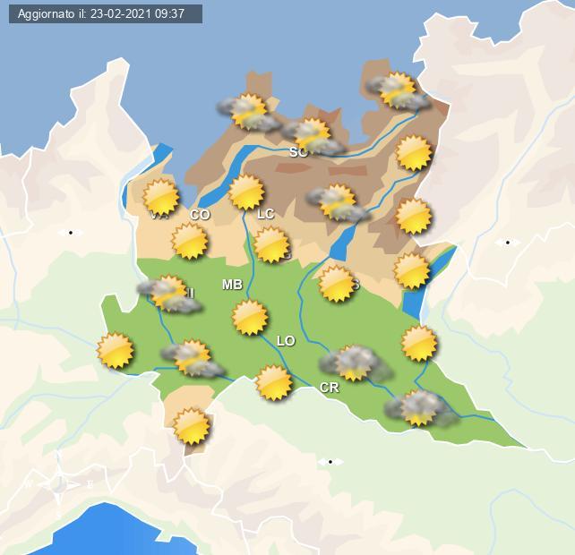 Previsioni grafiche per Milano e la Lombardia per domani 24 febbraio a cura del Centro Meteo Italiano