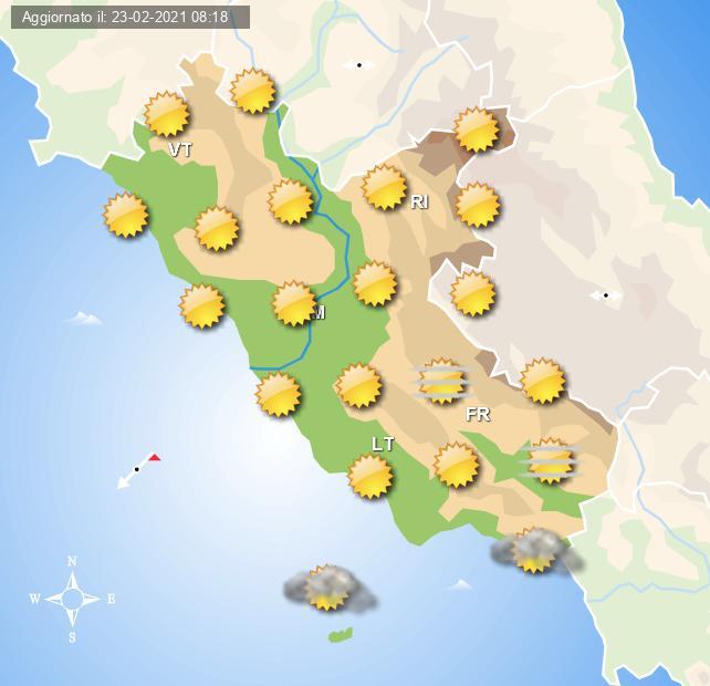 Previsioni grafiche per domani 24 Febbraio 2021 per Roma ed il Lazio a cura del Centro Meteo Italiano