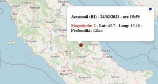 Terremoto Lazio oggi, 24 febbraio 2021: scossa M 2.0 ad Accumoli