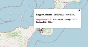 Terremoto oggi, 26 febbraio 2021: scossa M 2.7 a Reggio Calabria