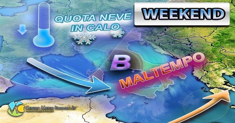 METEO – WEEKEND a rischio MALTEMPO con NEVE localmente a BASSA QUOTA; i dettagli