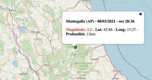 Terremoto nelle Marche oggi, lunedì 8 marzo 2021: scossa M 2.2 in provincia di Ascoli Piceno